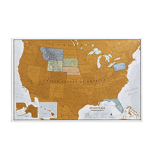 Maps International Scratch Off Map Of The US – USA Wall Map – Scratch Off – Detailed cartography - US States - National Parks - 34 x 22 by Maps International