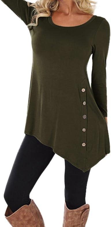 Lenfesh Para Mujer Camisas Largo Jersey Tallas Grandes Cuello Redondo Casual, tamaño Grande y Delgado: Amazon.es: Ropa y accesorios