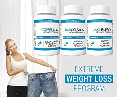 Vimulti Green Tea Colon Cleanse Weight Loss Program with Psyllium, Green Coffee for Quick Weight Loss and Increased Energy .Natural DETOX Cleanse. Rated Top Green Tea Fat Burner. Energy Pills