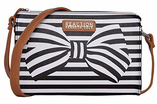 Bow Bag (Kenneth Cole Reaction KN1549 Duplicator Stripe Crossbody Messenger Bag (Black/White)