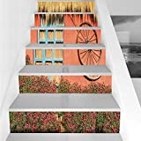 Stair Stickers Wall Stickers,6 PCS Self-adhesive,Barn Wood Wagon Wheel,Country House in Ecuador Red Wall Window Summer Flowers Straw Roof Decorative,Multicolor,Stair Riser Decal for Living Room, Hall,