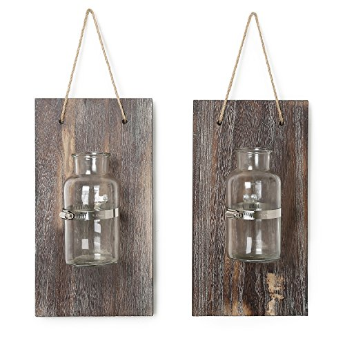 (CALIFORNIA CADE ELECTRONIC Mason Jars-Rustic Wall Decor-Home Decor-Vintage Decorative Wall Sconces for Artificial Plant or Anything (2, 12.8X6.8))