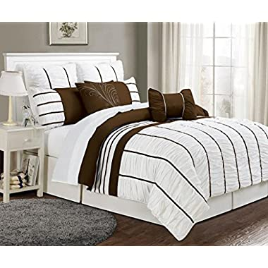 8 Piece King Villa Coffee and White Comforter Set