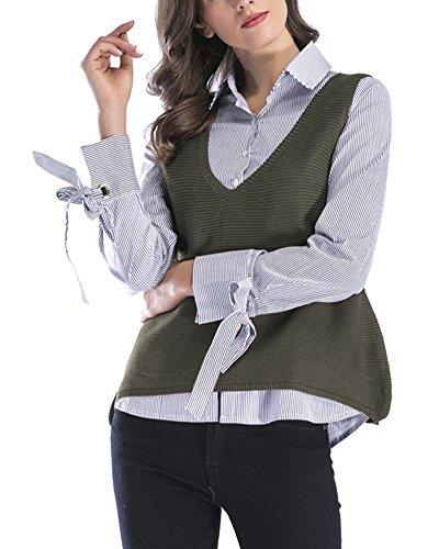 Mangas De Sólido Cuello Punto Sin Chaleco Chaleco V Para Verde Suéter Mujer Color En Jersey 54YP7pqxxw