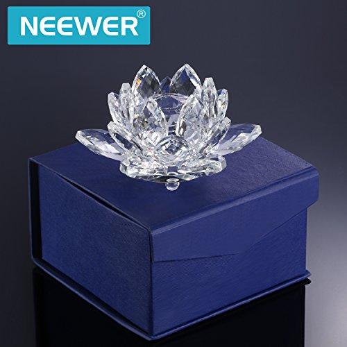 Neewer 4 Pulgadas/10cm Cristal Claro Flor De Loto Con Caja De Regalo Para La Decoracion De Boda/Hogar/Oficina