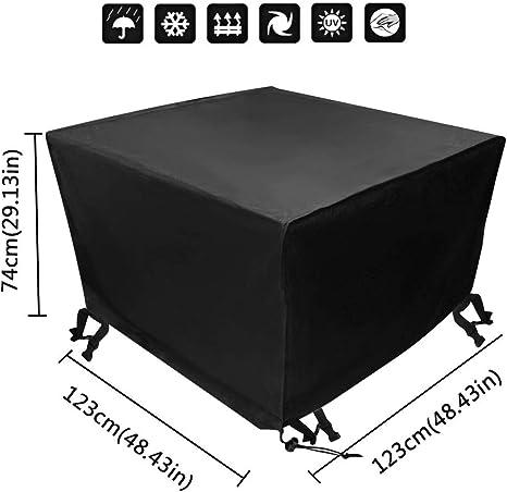 Xiliy Funda para Muebles de Jardín Impermeable Funda para Mesa para Mobiliario de Exterior Mesa (123 x 123 x 74 cm) : Amazon.es: Jardín