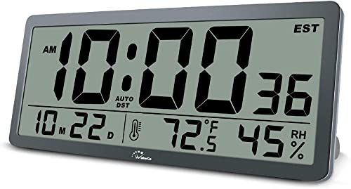 WallarGe Digital Wall Clock Large Display,14 Inches Oversized Desk Clocks with Temperature,Humidity and Date,Battery Operated Clocks for Office,Classroom and Living Room,etc.