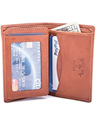 Luggage Depot USA, LLC Tony Perotti Italian Leather Vertical Bifold Wallet with Id Window Flap, Honey