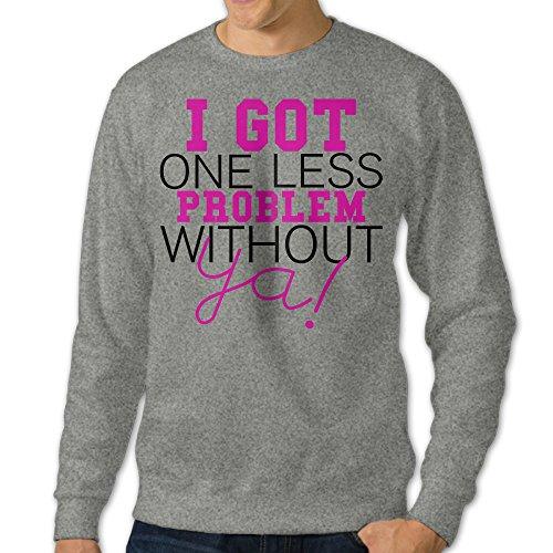 NUBIA Men's I Got One Less Problem Without You Custom Sweatshirt Ash XXL