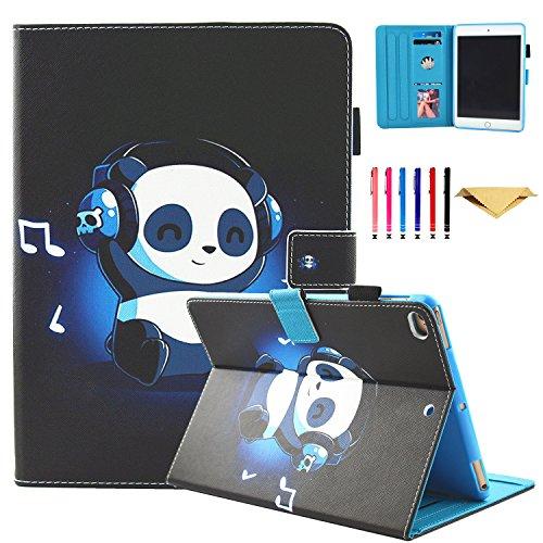 iPad Mini Case, Mini 2/3/4 Case - Monstek Slim Fit PU Leather Wallet Case Folio Stand [Multi-Angle Viewing][Auto Wake/Sleep] Smart Cover for Apple iPad Mini 1/2/3/4,Music Panda