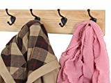 Solid Oak Wall Mounted Coat Rack with Oil Rubbed Bronze Wall Coat Hooks - Made In the USA