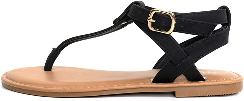 Colgo Thong Flat Sandals T-Strap Adjustable Ankle Buckle Strappy Casual Sandal for Women Summer