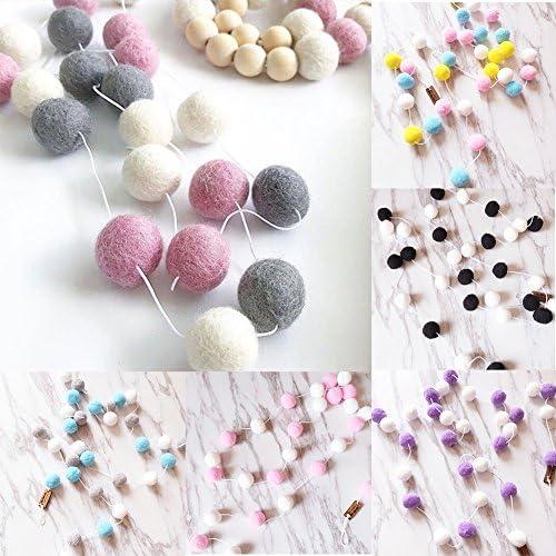 Pink+Blue+Yellow+White EMVANV 20/m 30Pcs in Feltro da Parete Ball Ciondolo Appeso Fur Ball Garland String Headmade per Parete Porta Decorazione della Stanza Taglia Libera