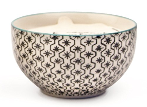 Paddywax Candles Boheme Collection Soy Wax Candle in Hand Painted Ceramic Bowl, Earl Grey & Lavender 7-Ounce