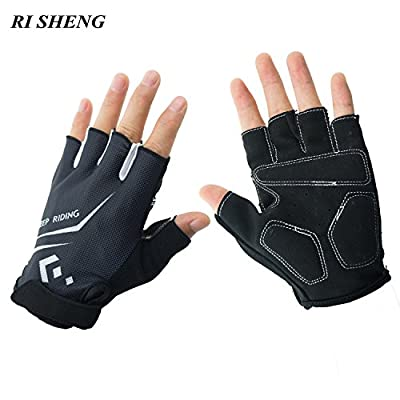 Deli Half Finger Biking Gloves, Unisex Cycling Gloves Mountain MTB Gloves, Shockproof Sports Riding Gloves for Cycling/Exercising/Climbing