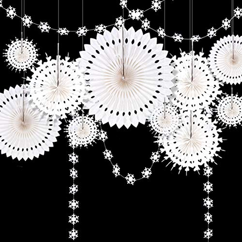 Winter Wonderland Snowflake Party Decorations Hanging White Paper Fan Centerpieces Snowflakes Garlands Banner Decoration for/Frozen Birthday/ChristmasTree/New Year/Baby Shower/Wedding Party Supplies]()