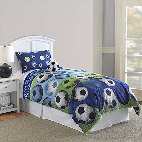 Hallmart Kids 64015 4-Piece Soccer Comforter Set, Full, 4-Piece by Hallmart Kids