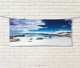 Anniutwo Landscape,Hand Towel,Ocean Seascape Peaceful Beach Rocks Cloudy Sky Digital Print,Quick-Dry Towels,White Blue Grey Size: W 20'' x L 20''
