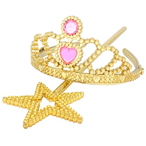 Princess Dress Up Tiara and Star Wand Gold set Tiaras and Crowns for Little Girls Plastic Tiaras