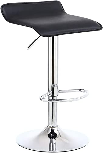 KKTONER Square Bar Stools PU Leather Swivel Adjustable Counter Stool Black Set of 1