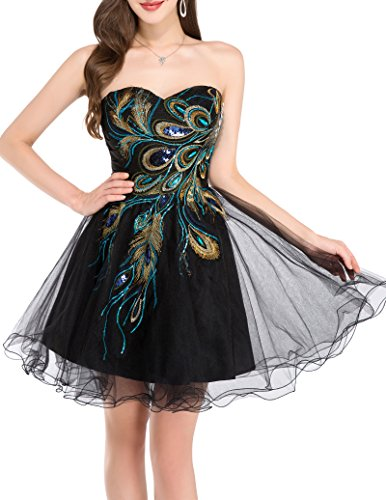 Cheap Masquerade Dresses (Grace Karin Black Short Prom Dresses A-Line Strapless Cocktail Dress Embroidered,size 4)