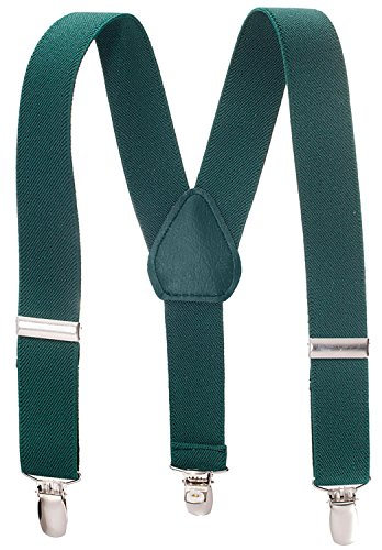 Suspenders for Kids - 1 Inch Suspender Perfect for Tuxedo - Hunter Green (26