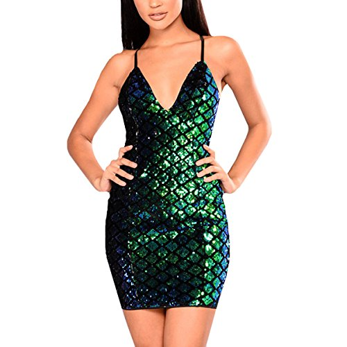 Sherry Dress Strappy Sexy Sequins Strap Dress Glitter Tunic V-Neck Backless Clubwear Dress (Green,XL)