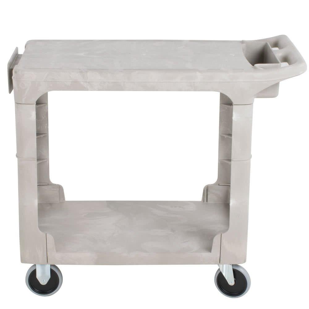 Rubbermaid Commercial Heavy Duty 2-Shelf Utility Cart, Flat Handle, Flat Shelves, Small, Beige (FG450589BEIG)