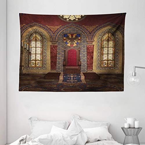 Ambesonne Gothic Tapestry, Red Medieval in Chapel Eagle Portrait on Wall Fantasy Building Print, Wide Wall Hanging for Bedroom Living Room Dorm, 80 X 60 , Brown Ruby