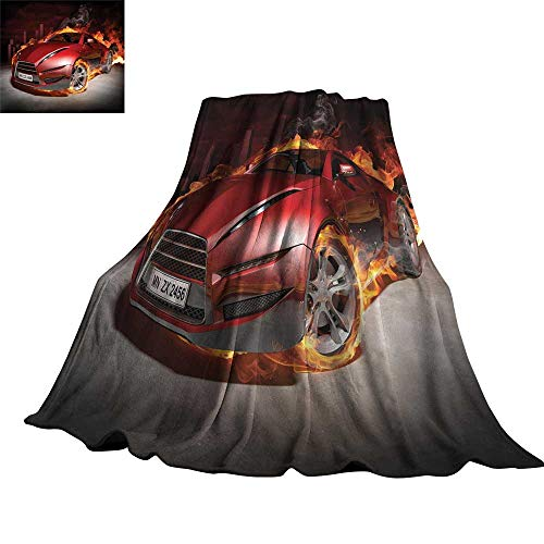 """Price comparison product image WinfreyDecor Cars Super Soft BlanketsRed Sports Car Burnout Tires in Flames Blazing Engine Hot Fire Smoke Automobile 60"""" Wx62 L Red Black Orange"""