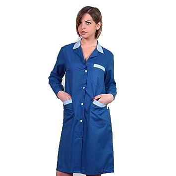Bata bicolor de trabajo, para mujer, para limpieza doméstica, trabajadora de