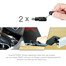 Bluetooth Earbud, ENACFIRE Wireless V4.1 Bluetooth Headphone with 2 x Magnetic USB Chargers and 6 Hour Playtime Wireles Earbud with Mic for iPhone and Android Devices (One Piece)