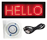 SEGURO® Rechargeable Mini Red LED Programmable Badge Display with USB Programming Cable (12x48 pixels)