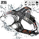 Brightest and Best LED Headlamp 9000 Lumen flashlight - Leading Technology CREE LED, Rechargeable 18650 headlight flashlights Waterproof Hard Hat Light,Outdoor & Indoor Fishing Camping headlamps