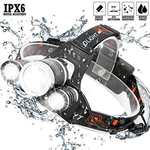 Brightest and Best LED Headlamp 9000 Lumen flashlight - Leading Technology CREE LED, Rechargeable 18650 headlight flashlights Waterproof Hard Hat Light,Outdoor & Indoor Fishing Camping headlamps by Ankeca