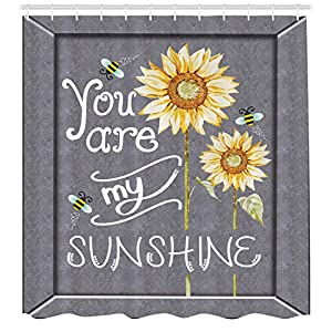 Ambesonne Love Signs Decorations Collection, You are My Sunshine Quote on a Black Board with Bees and Sunflowers, Polyester Fabric Bathroom Shower Curtain Set with Hooks, Gray Yellow 34