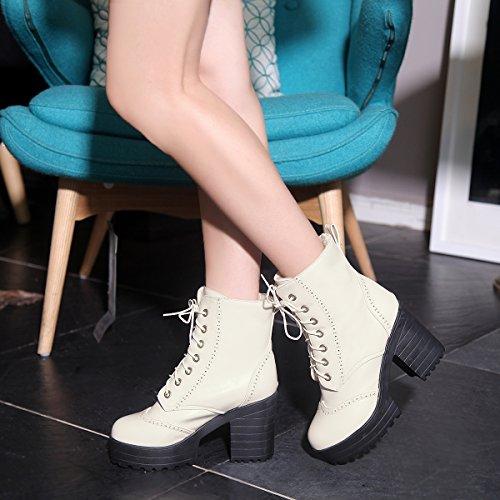 YE Damen Blockabsatz Ankle Boots Plateau High Heels Stiefeletten mit Schnürung Elegant Schuhe Beige