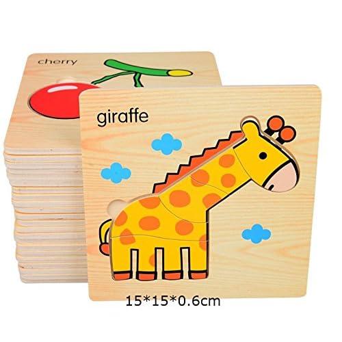 6 Pcs Jouets de bois Puzzles en bois / Puzzles en bois Jouets éducatifs Intelligence Jouets éducatifs pour 2 3 4 ans (motif aléatoire)