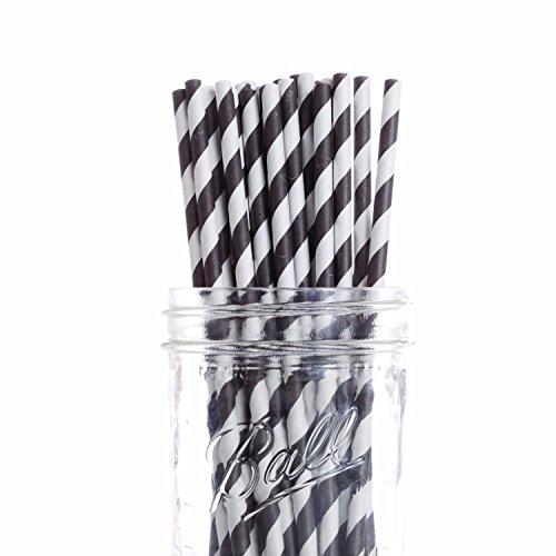 Dress My Cupcake 6-Inch Vintage Paper Cakepop Straws, Black Striped, Case of 6200 by Dress My Cupcake