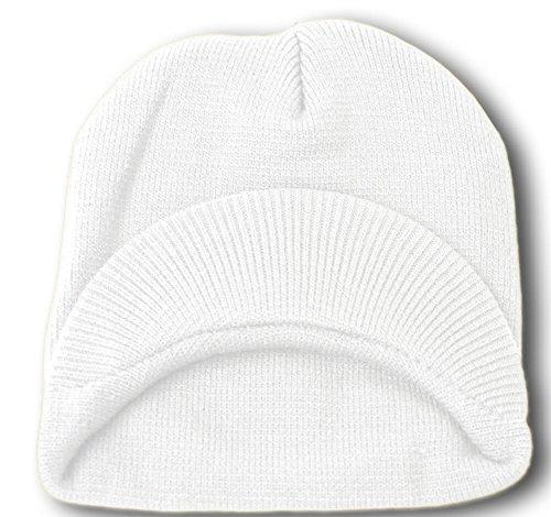TOP HEADWEAR TopHeadwear Cuffless Visor Winter Beanie - White