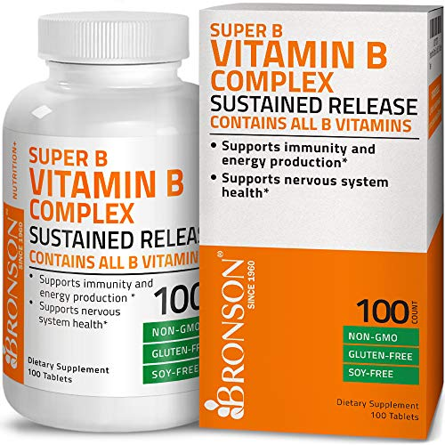Bronson Vitamin B Complex Sustained Slow Release (Vitamin B1, B2, B3, B6, B9 - Folic Acid, B12) Super B Contains All B Vitamins, Non-GMO, Gluten Free, Soy Free, 100 Tablets