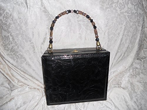 Cigarbox Purse, Embossed Black Roseprint Italian Leather, Tina Marie Purse Purse, (Vintage Box Purses)