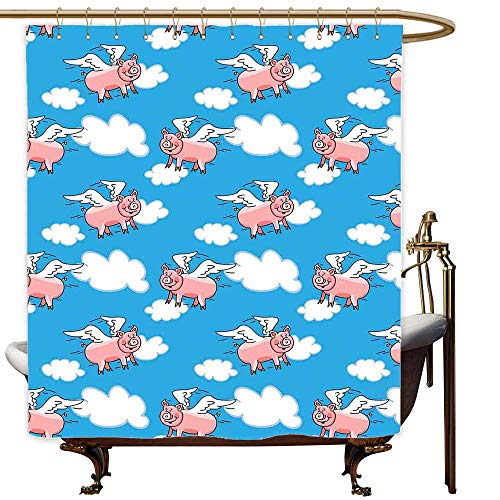 SKDSArts Shower Curtains x Long Pig Decor,Flying Pig Cartoon Characters with Wings to Represent The Saying,Great Kid Clouds,W65 x L72,Shower Curtain for Kids for $<!--$40.00-->