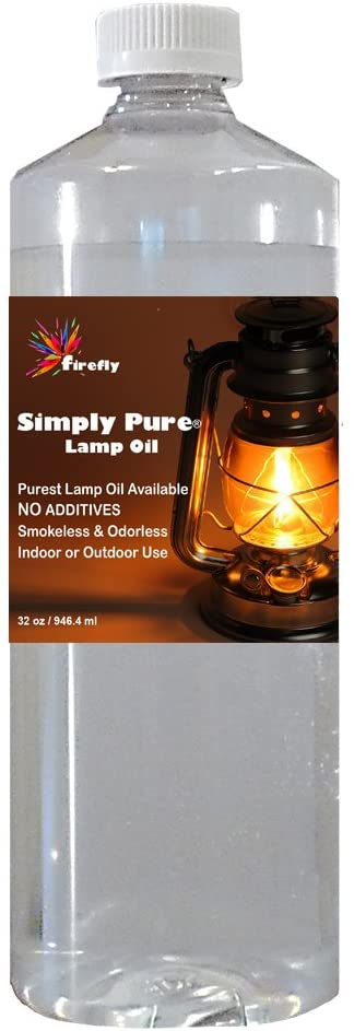 Firefly Candle and Lamp Oil - Smokeless & Odorless - Simply Pure - Ultra Clean Burning - Liquid Paraffin Fuel - Highest Purity Available - 32 oz