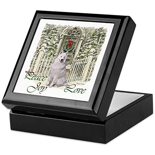 (CafePress Samoyed Christmas Keepsake Box, Finished Hardwood Jewelry Box, Velvet Lined Memento Box)