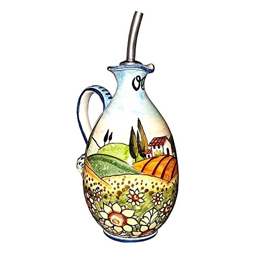CERAMICHE D'ARTE PARRINI - Italian Ceramic Art Pottery Oil Cruet Bottle Hand Painted Decorated Landscape Sunflower Made in ITALY Tuscan Ceramic Sunflowers