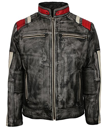Men's Distressed Quilted Striped Designer Grey Waxed...
