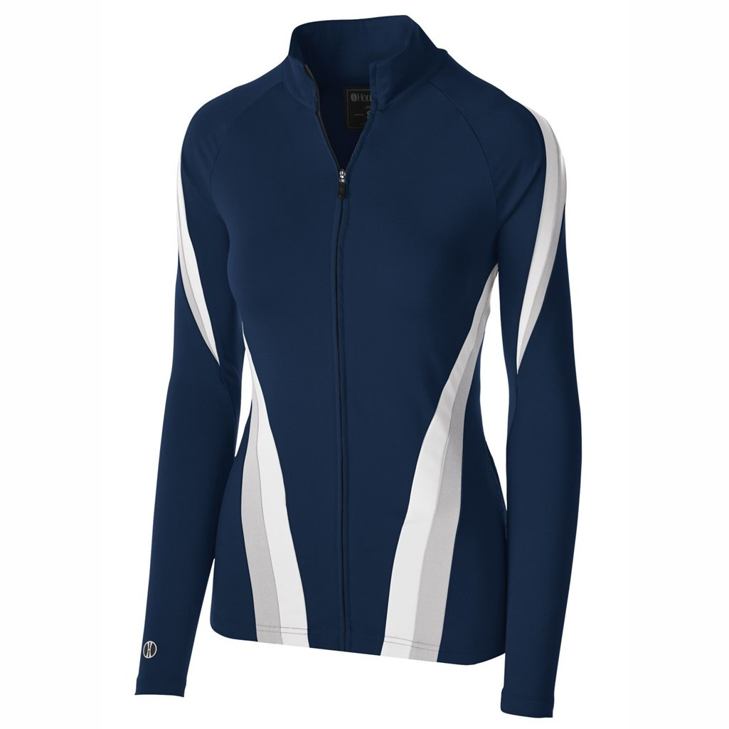 Holloway Dry Excel Girls Aerial Semi Fitted Jacket (Small, Navy/Silver/White)