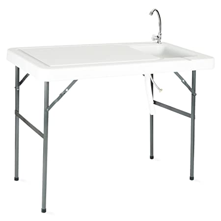 Onebigoutlet Folding Portable Fish Fillet Hunting Cutting Table w Sink Faucet BBQ Tailgate
