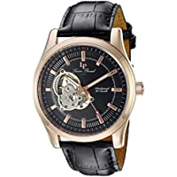 Lucien Piccard Men's LP-40006M-RG-01 Morgana Rose Gold-Tone Hand-Wind Watch with Black Leather Band